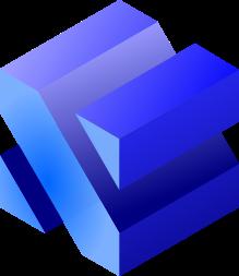 3D plava kocka bijela pozadina