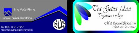 dizajn dvije posjetnice sivo plava i bijela sa plavim i zelenim